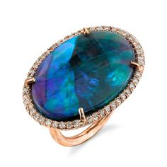 Irene Neuwirth: One of a Kind Ring with Lightening Ridge Black Opal and Diamond Pave