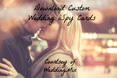 Download your own DIY Wedding iSpy Cards! Such a unique wedding videography idea