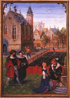Labors of the Months: April, from a Flemish Book of Hours (Bruges). Simon Bening. First half 16th century.