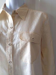 Lauren Ralph Lauren Women's Beige Tan Button Down Shirt Size P/L Petite Large #RalphLauren #ButtonDownShirt #Career