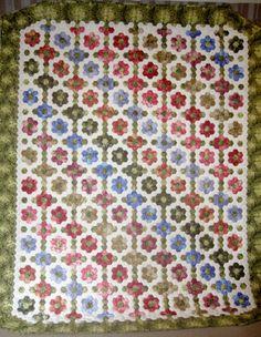 "English paper piecing, 1"" hexagons"