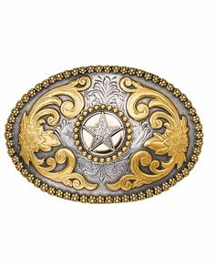 Nocona Oval Silver and Gold Star Western Belt Buckle - Buckles - Men s  Boucles, Boucles 8358f278e2b