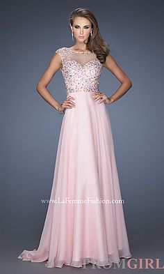 Long Sheer Embellished La Femme Prom Dress at PromGirl.com