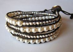 Pearl And Silver Nugget Leather Wrap Bracelet on Etsy, $60.00