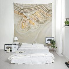 Mineral photography cloth wall hanging, Agate art wall tapestry, Cool wall art, Polyester, Beige, Original print, Bedroom decor boho. MW110 Boho Bedroom Decor, Boho Decor, Cool Wall Art, Affordable Wall Art, Wall Tapestry, Printing On Fabric, Interior Decorating, Indoor, Mineral