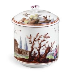 A VINCENNES TOILET POT AND COVER CIRCA 1747-49 pot à pommade, painted in Meissen style with a continuous coastal scene including figures and buildings, the cover with two further miniature landscapes