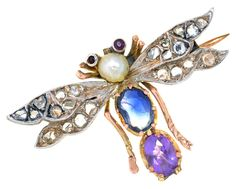 Insect jewellery featuring moths, beetles and bees became popular around 1860, a fascination amongst fashionable Victorian urbanites with their insatiable curiosity for the natural world. This jewelled fly brooch is set with ruby, sapphire, diamond and pearl, and is lot 45 in our next Antique & Collectors sale on 4th March 2020 from 10:30am.  #insectjewelry #diamondjewelry #jewelleryaddict