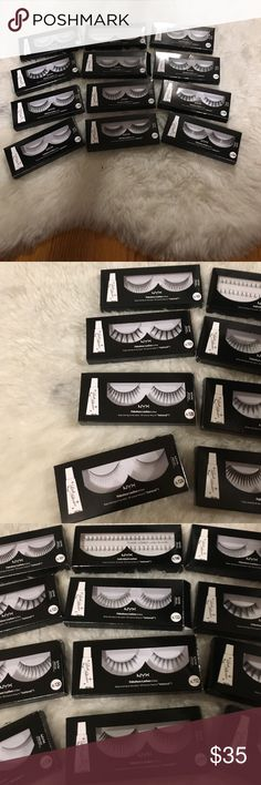 BRAND NEW NYX Eyelashes ALL BRAND NEW IN BOX. 12 pairs in this listing for one price. Not going to split this listing up due to lack of time. Ask any questions you may have.✖️No trades. Prices are firm. If you are interested in a discount, creating a bundle is the best way  NYX Makeup False Eyelashes