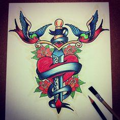 Old school tattoo illustration / Hand & Ink™