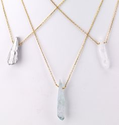 """Round link gold chain necklace with clear crystal pendant. 16"""" long Crystal Metallic Aqua White Nickel and lead-free"""