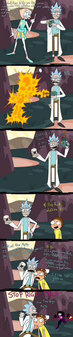 Rick and Morty / Steven Universe Crossover Steven Universe Crossover, Wubba Lubba, Ricky And Morty, Otaku, Get Schwifty, Fandom Crossover, Cartoon Crossovers, Cartoon Games, Cool Cartoons