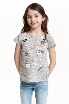 Top with appliqués - Grey marl - Kids   H&M GB