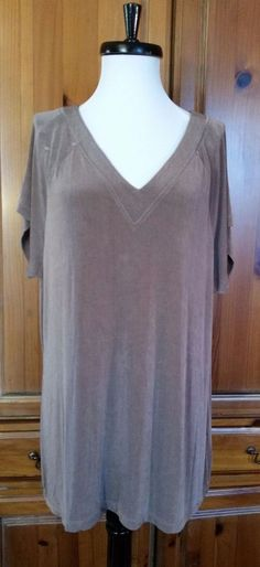 Coldwater Creek Travel Knit top blouse Slinky V neck front back Brown SHIRT  2X #ColdwaterCreek #KnitTop #Casual