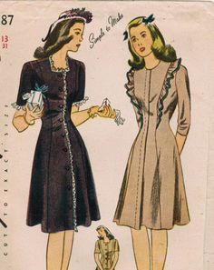 1940s Simplicity 4787 FF Vintage Sewing Pattern Junior Misses' Dress Size 13…