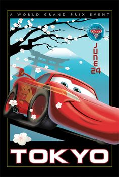 To promote the much anticipated Cars 2 release, Pixar's designers created these beautiful, vintage-style posters. In the sequel, Lightning McQueen and Mate