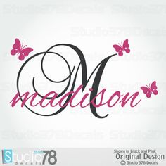 Girl Name Wall Decals Personalized Vinyl Wall by Studio378Decals