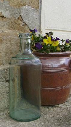 Vintage French glass bottle $5
