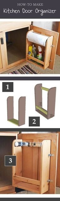 How to make a kitchen cabinet door organizer for less than $10! Free plans!.