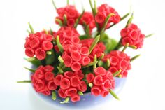 Miniature Polymer Clay Flowers Supplies Red Geranium 3 bunches. $4.50, via Etsy.