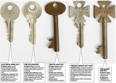 A set of master keys to the infrastructure of NYC popped up on ebay last month: The set consists of five keys that would allow control of virtually any elevator in the city, could knock out power to municipal buildings and skyscrapers, darken city streets, open subway gates and some firehouse doors and provide full access to 1 World Trade Center and other construction sites.