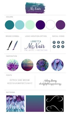 Brand board for painter & fine artist - purple, teal, cyan, green, white, floral.