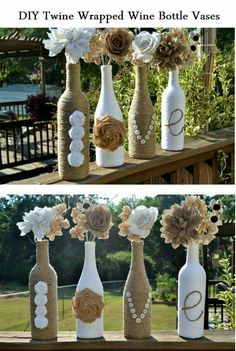 Twine wrapped wine bottles now vases. Diy pretty.  Could be any theme