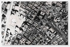 """Die """"Black Scalpel Cityscapes"""" des britischen Künstlers bestechen durch vollkommene Präzision und Schärfe."""
