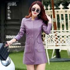 Discount! US $46.89  Fashion coat Autumn leather jacket women clothing slim medium-long leather trench outerwear women's casual jacket AA130  . Provide product: Womens Leather Vest Fashion.