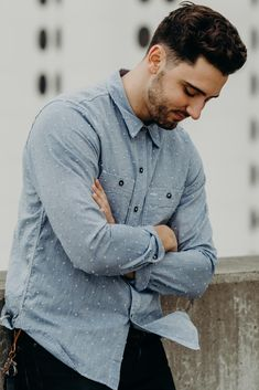 eaa13eb7b5 Lightweight spring and summer light blue button-up shirt. Made in