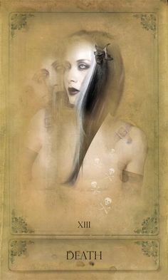 The Sepia Stains Tarot DEATH End · New beginning · Loss · Dramatic change · Destruction Tarot Death, Symbolic Art, T Art, Major Arcana, Dark Matter, Oracle Cards, Archetypes, Deck Of Cards, Tarot Cards