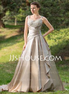 LOVE LOVE LOVE Ball-Gown Sweetheart Court Train Satin Wedding Dress With Ruffle Lace Beadwork (002024696) - JJsHouse