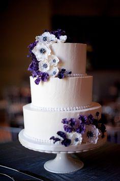 Elegant anemone wedding cake