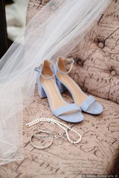 Dusty blue + open toed heel - wedding shoe ideas {B. Adams Photography}