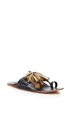 Navy And Gold Scaramouche Sandal by FIGUE for Preorder on Moda Operandi