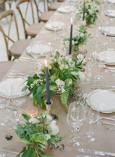 La Tavola Fine Linen Rental: Velvet Beige | Photography: Corbin Gurkin, Event Design: Easton Events, Florals: Stems, Venue: Cannon Green