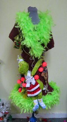 0c7f7e7a9f06c 3-D Tacky Ugly Christmas Sweater Dress Light Up Sweater Lime Christmas Tree  Costume