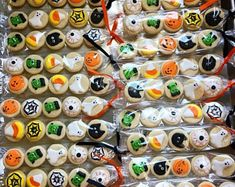 Excited to share this item from my shop: Mini Halloween Cookies Butter Sugar Cookies, Pumpkin Sugar Cookies, Ghost Cookies, Mini Cookies, Halloween Cookies Decorated, Halloween Sugar Cookies, Halloween Eyeballs, Halloween Party Favors, Christening Cookies