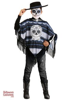 Get decked out to celebrate Day of the Dead with our Boy's Day of the Dead Poncho Costume. This southwest-style poncho features a cool sugar skull emblem on the front and a skeleton neck. Scary Halloween Costumes, Halloween Kids, Toddler Costumes, Girl Costumes, Hermione Costume, Fox Costume, Boys Day, Black Cowboy Boots, Gender Neutral Baby Shower