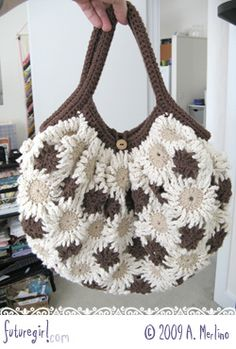 crochet flower bag, there is a youtube tutorial on how to make it :D