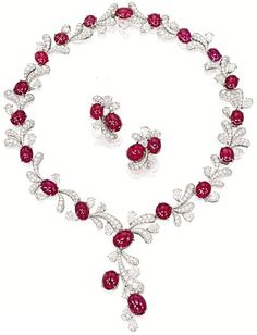 Cabochon Ruby, Diamond and Platinum Necklace and Earrings