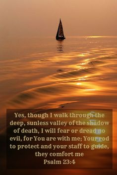 Yes, though I walk through the deep, sunless valley of the shadow of death, I will fear or dread no evil, for You are with me; Your rod to protect and Your staff to guide, they comfort me Psalm 23:4