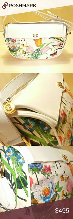 Authentic Gucci Vintage Flora Crossbody Extremely Rare...PRISTINE CONDITION...Vintage Gucci...no tears...no holes...no rips...inside in great condition.  You will not see anyone with this purse. Beautiful...100% Guaranteed Authentic...Barely used...Canvas is spotless! Gucci Bags Crossbody Bags