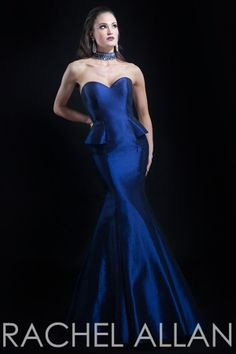Taffeta gown with mini peplum and beaded back and neck detail