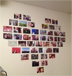 heart picture collage so cute and so easy to do for your room...  ahhhhhh meamories