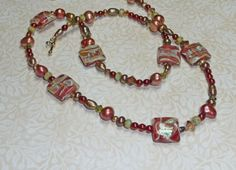 Aluminated Lampwork and Pearl Necklace          N903 by jewelry49