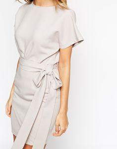 Image 3 - ASOS - Robe fourreau à jupe portefeuille et ceinture obi