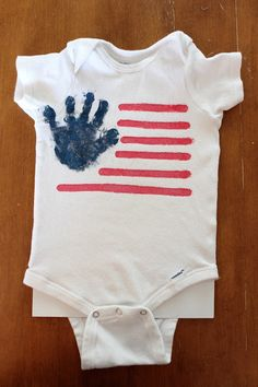 DIY Hand print Onesie (And Flag Shirt)