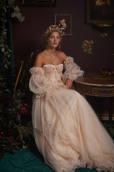 Blush tulle Yoake wedding gown by Joanne Fleming Design. Bridal fashion shot in a painterly Old Dutch Masters Portrait style by This Modern Romance, styling by Carrie Moe, hair accessory by Erin Rhyne. Dream Wedding Dresses, Wedding Gowns, Prom Dresses, Formal Dresses, Quince Dresses, Pretty Dresses, Beautiful Dresses, Fantasy Gowns, Fantasy Outfits