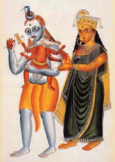 Kalighat painting of Lord Shiva and Goddess Parvati, Bengal