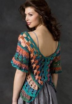 Boutique Butterfly Wrap ~ back view  (This pattern is VERY easy!!! only ONE piece to crochet!)